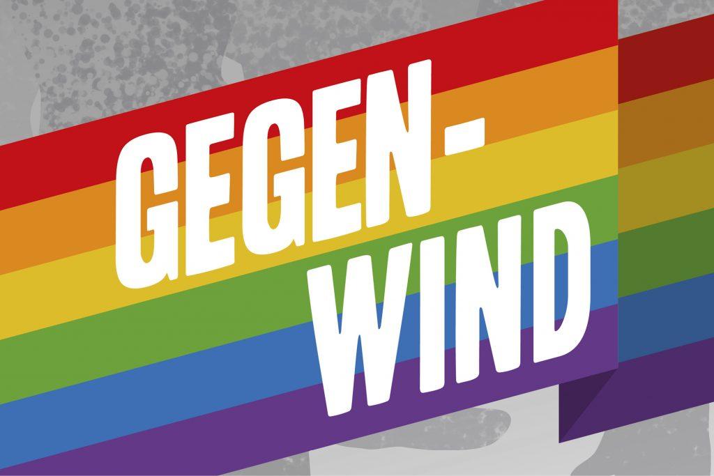 Regenbogenfahne mit Aufschrift